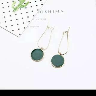green circle earings