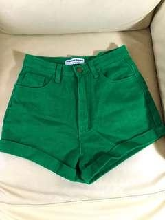 American apparel high waist green denim shorts jeans