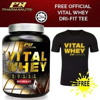100% Whey Isolate With 24g Protein, 67 Servings - Fast Muscle Recovery (Chocolate Milkshake) + FREE Official Vital Whey Dry Fit  T Shirt (Black)