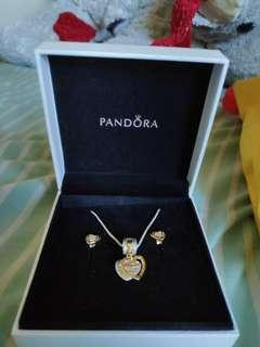 Pandora Necklace and Earrings Set (with Receipt and paperbag)