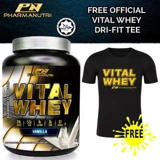 Whey Protein Halal - Vital Whey (Vanilla) 2kg/4.41lbs, 100% Whey Isolate With 24g Protein, 67 Servings - Fast Muscle Recovery + FREE Official Vital Whey Dry Fit T Shirt (Black)