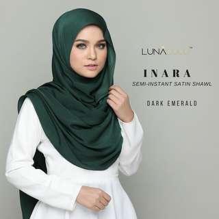 🚚 Inara Semi-Instant Satin Shawl by Lunalulu (Dark Emerald)