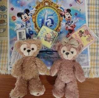 🚚 日本帶回 東京 海洋迪士尼 限定 基本款 達菲 雪莉梅 蝴蝶結 吊飾 鑰匙圈 別針 絨毛 娃娃 玩偶 Tokyo Disney sea Duffy ShellieMay bear 熊 附袋子 提袋 15週年 米老鼠 代購