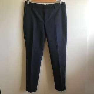 Zara Blue PInstripe Trousers Slacks (Size M)