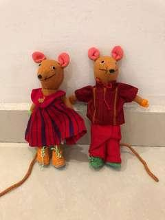 Hand made in Sri Lanka pair of mice soft toys