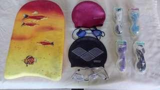 Speedo Goggles, Swim Cap and Kick Board