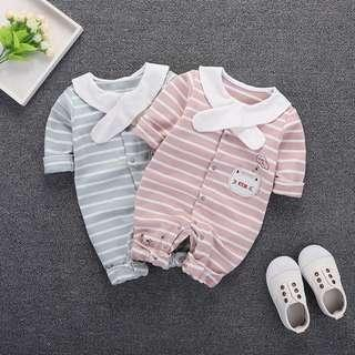 🚚 Little Kitten Design with Strip Long Sleeve Romper/Bodysuits (NCR 043)