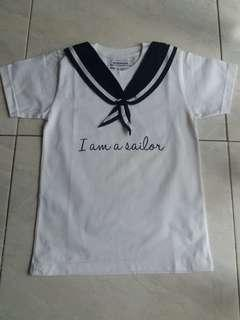 kaos anak putih sailor