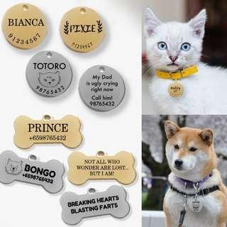 🚚 Pet ID tag. Customised Engraving.More than 100 tags engraved. *sale* Draft Design Provided. Done Locally