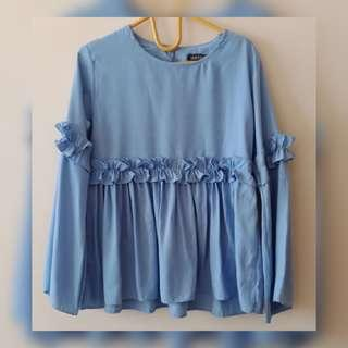 Blue ruffle tops