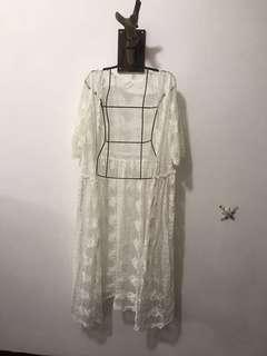 🚚 韓版蕾絲長版罩衫