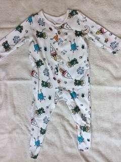 Baby boy clothes long sleeve one-piece pyjamas jumpsuit space alien 3-6 months