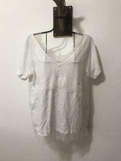 🚚 韓製白色蕾絲上衣