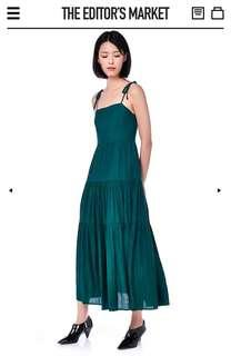 The Editor's Market Forest Green Hanis Tie-Strap Maxi Dress
