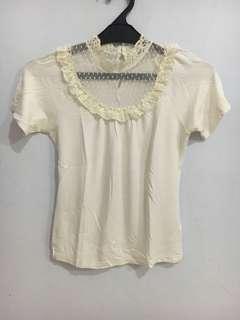 Petite lace white top