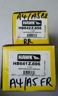 Hawk performance ceramic front and rear brake pads for Audi A4 A5 stock brake caliper