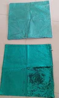 Emerald green sequin pillow cases