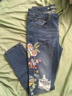 Charlotte Russe Embroidered Flowers Ripped Jeans