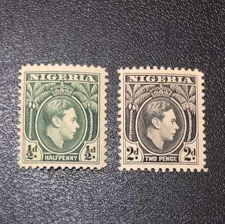 🚚 Stamp - Nigeria 1938 - King George VI Half Penny & 2 Pence