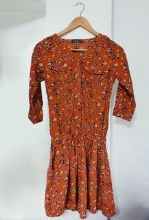 Crissa orange floral dress