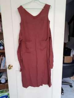 免運 紅色後綁帶V領吊帶洋裝