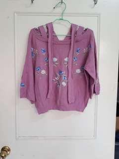 免運 日系花朵刺繡玫瑰色後交叉綁帶細針織上衣