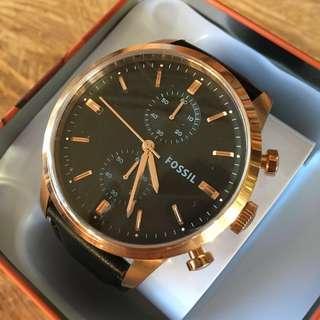 Fossil Townsman Black Leather Chronograph Men's Watch