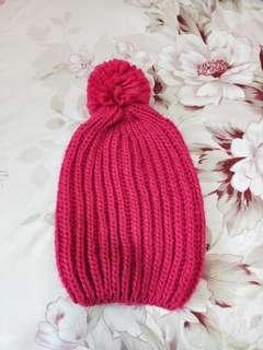 🚚 桃粉色毛球毛帽