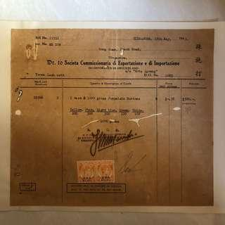 Old Invoice - Dated 1947 with 2 Malaya Straits Settlement Stamps with Porcelain Buttons as part of description