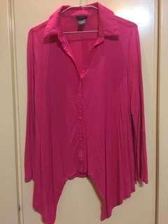 🚚 桃紅襯衫款上衣