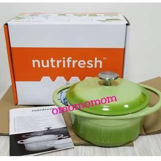 Nutrifreshi蘋果綠色圓形雙耳鍋 送杯apple green cast iron casserole 20cm 送izzue水杯4隻