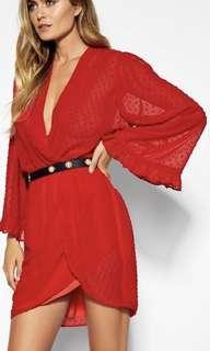 Sheike Red Blaze Dobby dress- cocktail