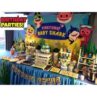 Birthday party set up