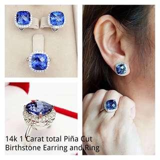 14k 1 carat total piña cut birthstone earing & ring