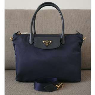 3525c21fd27e4d Authentic Prada Tessuto Saffiano Nylon 2Way Bag 1BA106 Bleu Blue