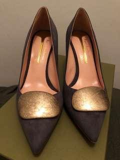 Rupert Sanderson 24k gold dark grey suede heels sz38