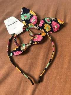 Floral Headband With Pearl's And Hair Tie