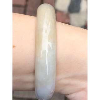 天空藍灑金A級翡翠玉鐲 54.6 正圈 (blue with orange jade bracelet/ bangle)