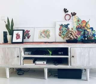 Whitewash teak tv console (does not include other items seen on photo)