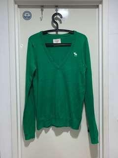 香港購入A&F鮮綠大v領針織衫