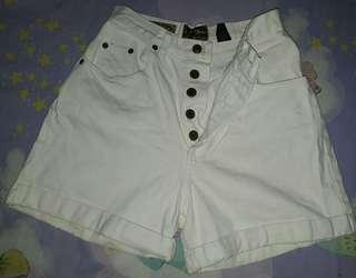 White Denim High-Waist Shorts