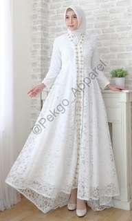NEW! Dian Dress Pekgo Apparel Dress Type B Full Pearl Baju Akad Nikah Lamaran Pesta Kondangan White Dress