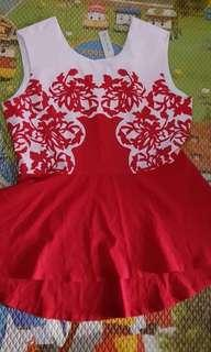 Maje red n white peplum top