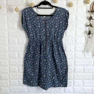 Soft Denim Floral Dress