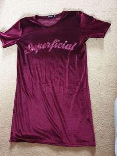 Velvet t shirt dress