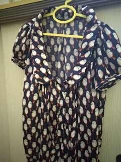 Zara Trf Navy Blue Bird Patterned Blouse