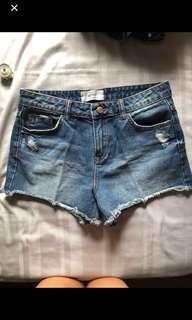 🚚 New look dark denim high waisted distressed shorts