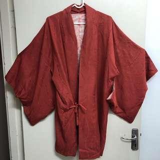 🚚 橘紅色和服罩衫款 近全新