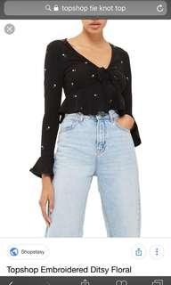 Topshop Embroidered Ditsy Floral top in black