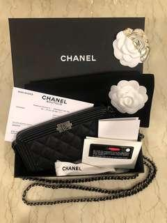 REAL Chanel Boy WOC 2019 caviar clutch / wallet on chain double zip bag
